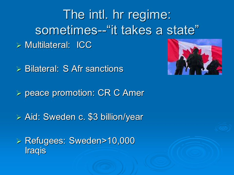 "The intl. hr regime: sometimes--""it takes a state""  Multilateral: ICC  Bilateral: S Afr sanctions  peace promotion: CR C Amer  Aid: Sweden c. $3 b"