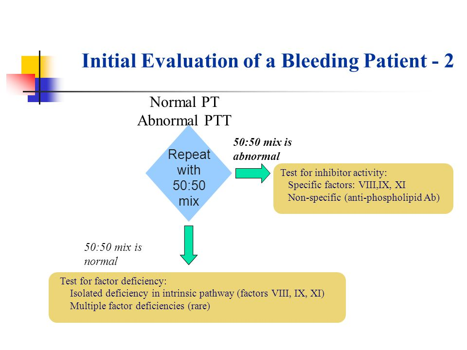 Initial Evaluation of a Bleeding Patient - 2 Normal PT Abnormal PTT Test for factor deficiency: Isolated deficiency in intrinsic pathway (factors VIII