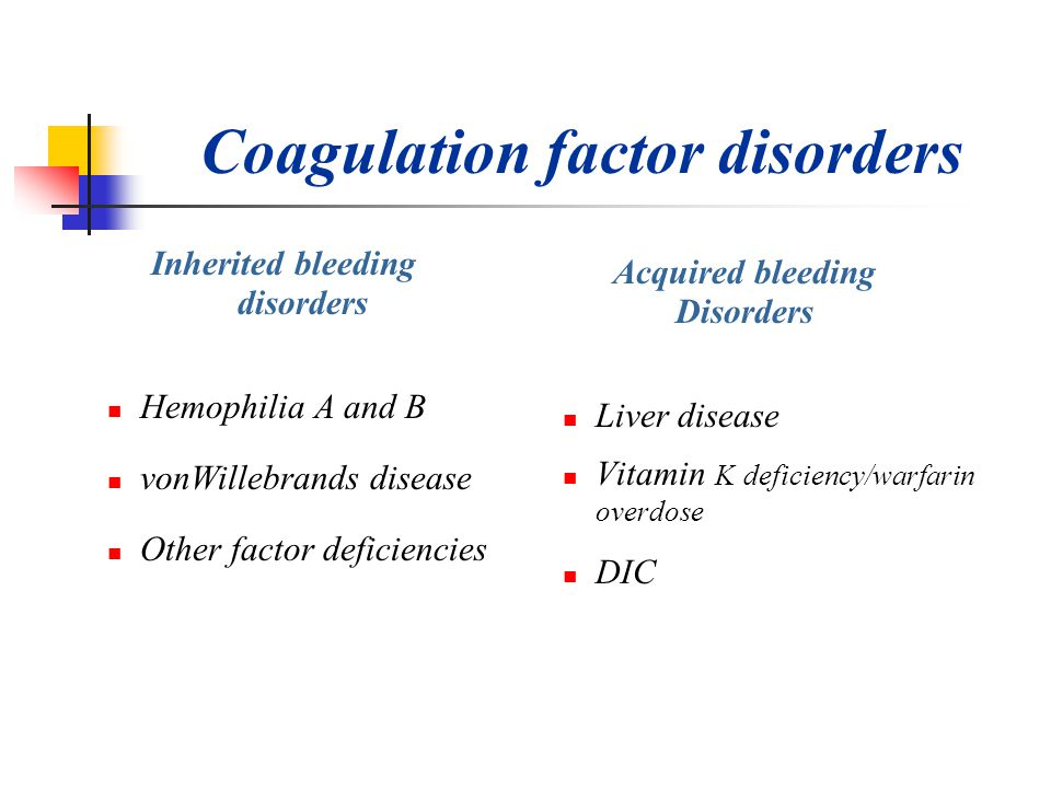 Coagulation factor disorders Inherited bleeding disorders Hemophilia A and B vonWillebrands disease Other factor deficiencies Acquired bleeding Disord