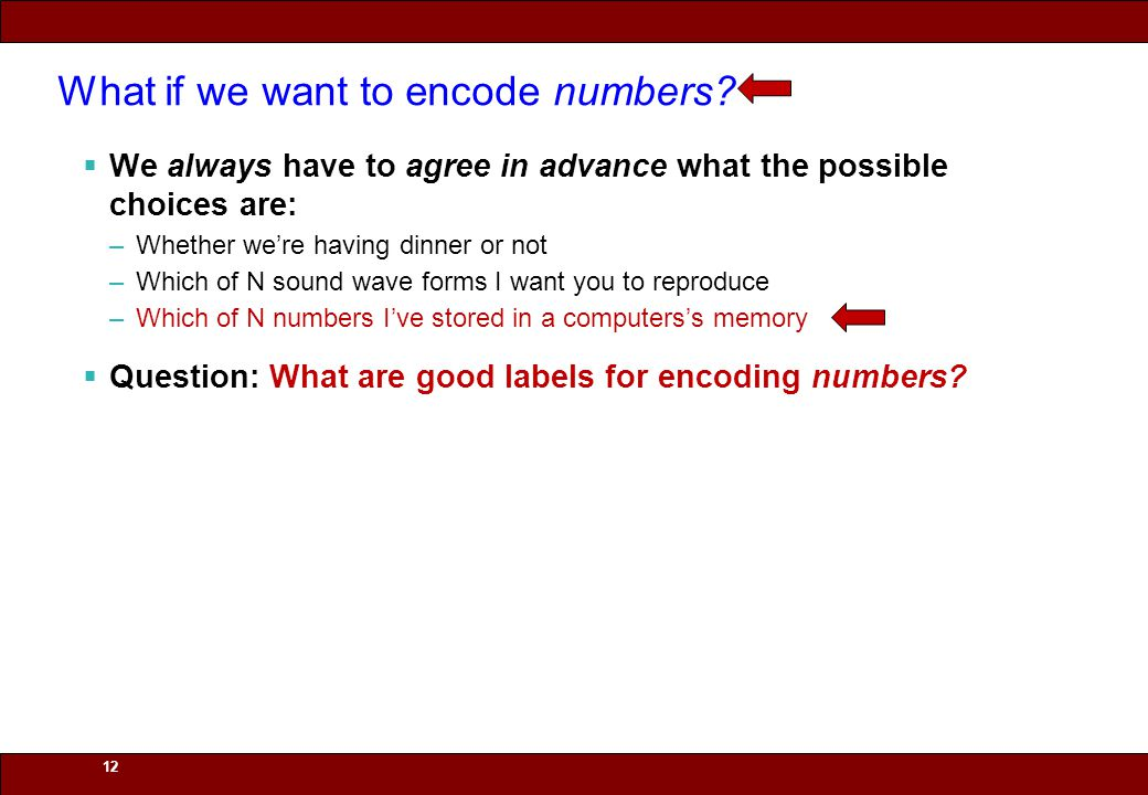 © 2010 Noah Mendelsohn 12 What if we want to encode numbers?  We always have to agree in advance what the possible choices are: –Whether we're having