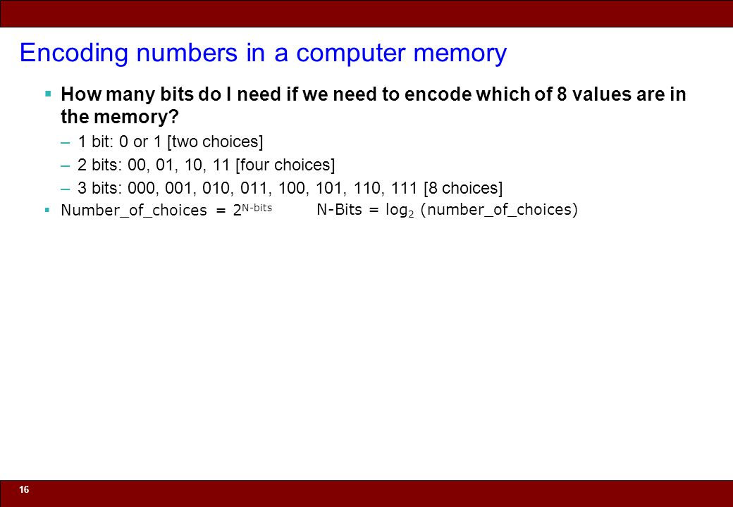 © 2010 Noah Mendelsohn Encoding numbers in a computer memory  How many bits do I need if we need to encode which of 8 values are in the memory? –1 bi