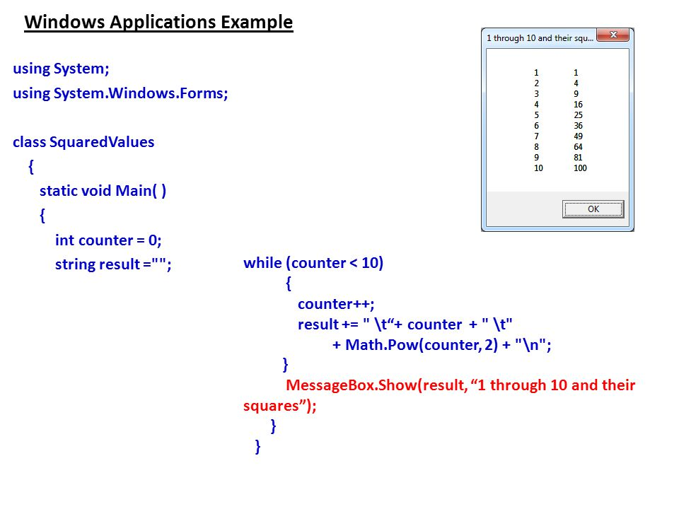 Windows Applications Example using System; using System.Windows.Forms; class SquaredValues { static void Main( ) { int counter = 0; string result = ; while (counter < 10) { counter++; result += \t + counter + \t + Math.Pow(counter, 2) + \n ; } MessageBox.Show(result, 1 through 10 and their squares ); }