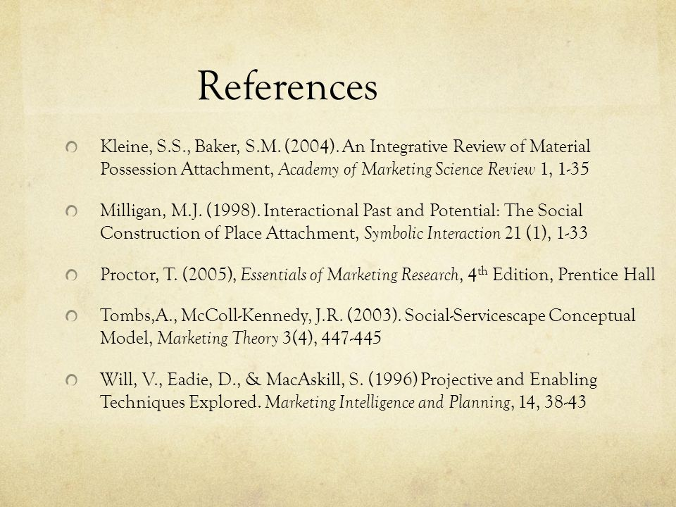 References Kleine, S.S., Baker, S.M. (2004).