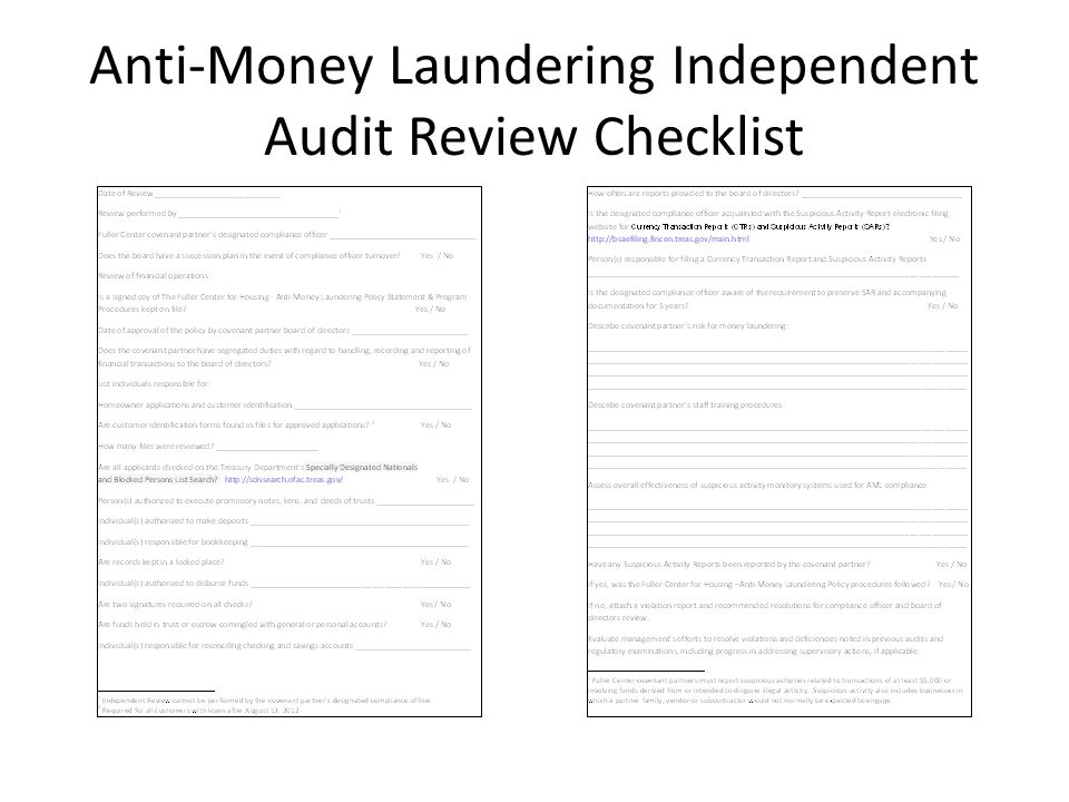 Anti-Money Laundering Independent Audit Review Checklist