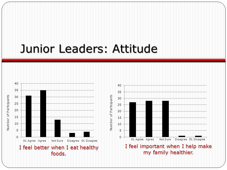 Junior Leaders: Attitude I feel better when I eat healthy foods. I feel important when I help make my family healthier. St. Agree Agree Not Sure Disag
