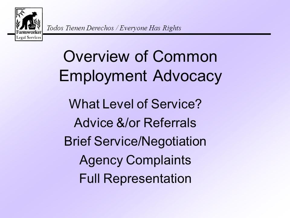 Todos Tienen Derechos / Everyone Has Rights Overview of Common Employment Advocacy What Level of Service.