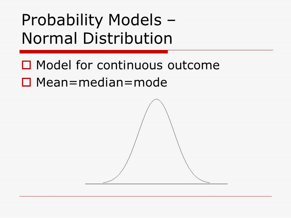 Probability Models – Normal Distribution  Model for continuous outcome  Mean=median=mode