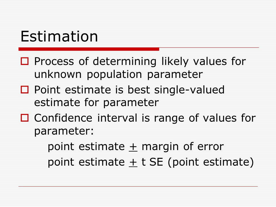 Estimation  Process of determining likely values for unknown population parameter  Point estimate is best single-valued estimate for parameter  Confidence interval is range of values for parameter: point estimate + margin of error point estimate + t SE (point estimate)