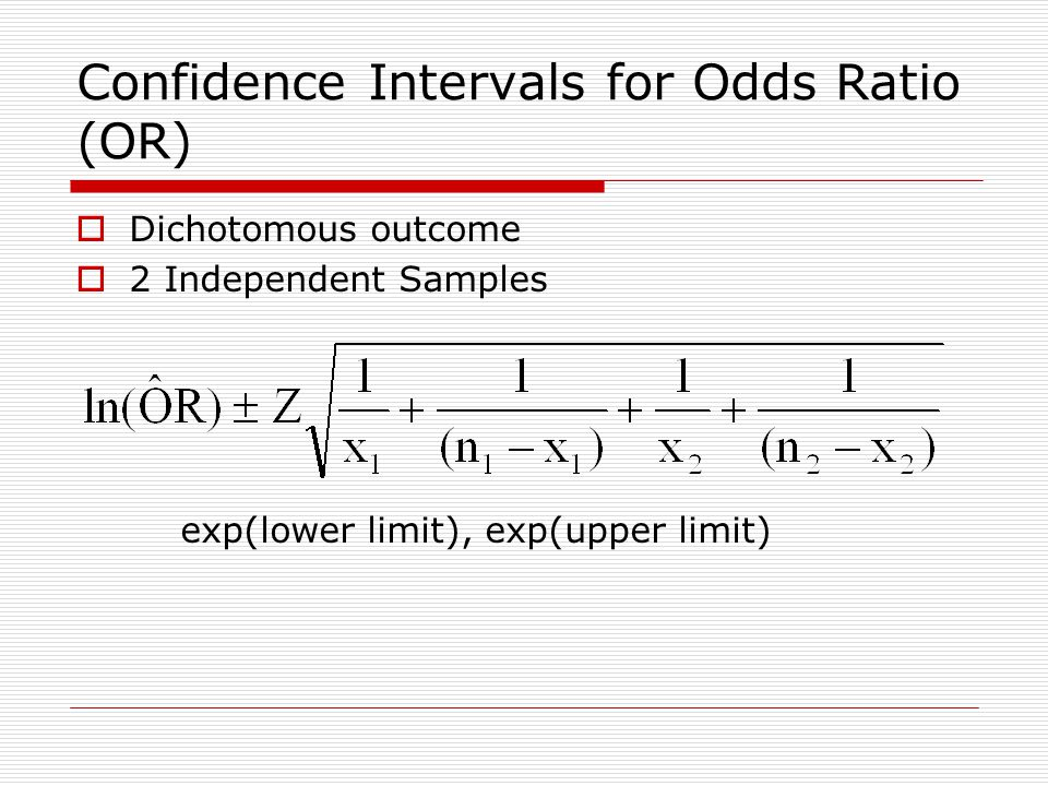 Confidence Intervals for Odds Ratio (OR)  Dichotomous outcome  2 Independent Samples exp(lower limit), exp(upper limit)