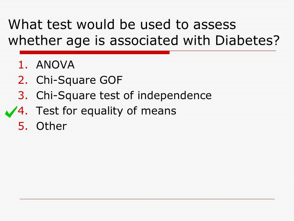 What test would be used to assess whether age is associated with Diabetes.