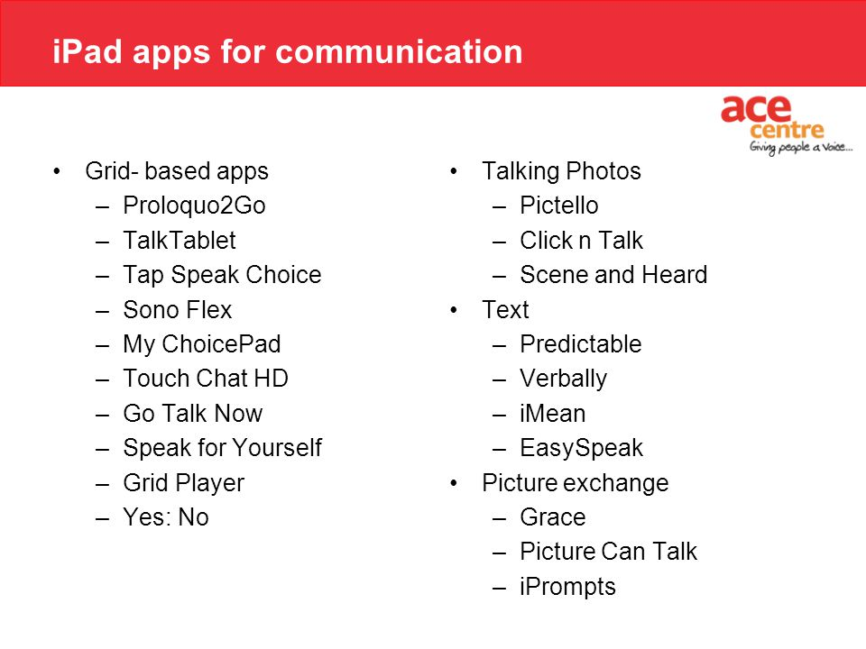 iPad apps for communication Grid- based apps –Proloquo2Go –TalkTablet –Tap Speak Choice –Sono Flex –My ChoicePad –Touch Chat HD –Go Talk Now –Speak fo