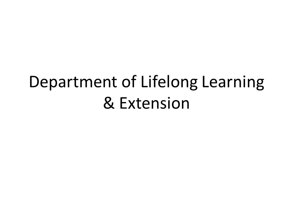 Department of Lifelong Learning & Extension