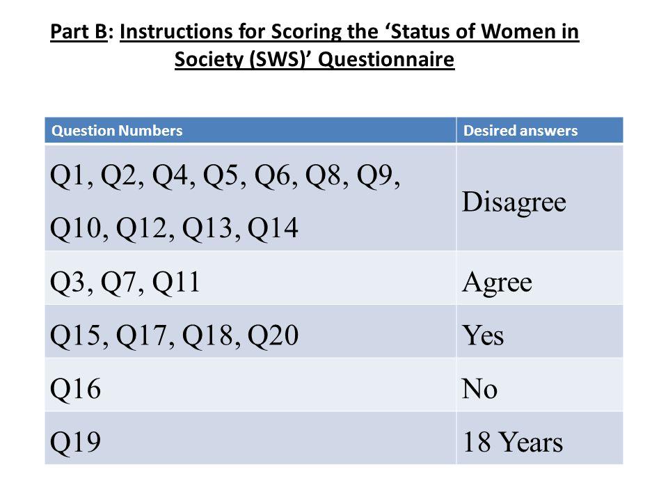 Part B: Instructions for Scoring the 'Status of Women in Society (SWS)' Questionnaire Question NumbersDesired answers Q1, Q2, Q4, Q5, Q6, Q8, Q9, Q10, Q12, Q13, Q14 Disagree Q3, Q7, Q11Agree Q15, Q17, Q18, Q20Yes Q16No Q1918 Years