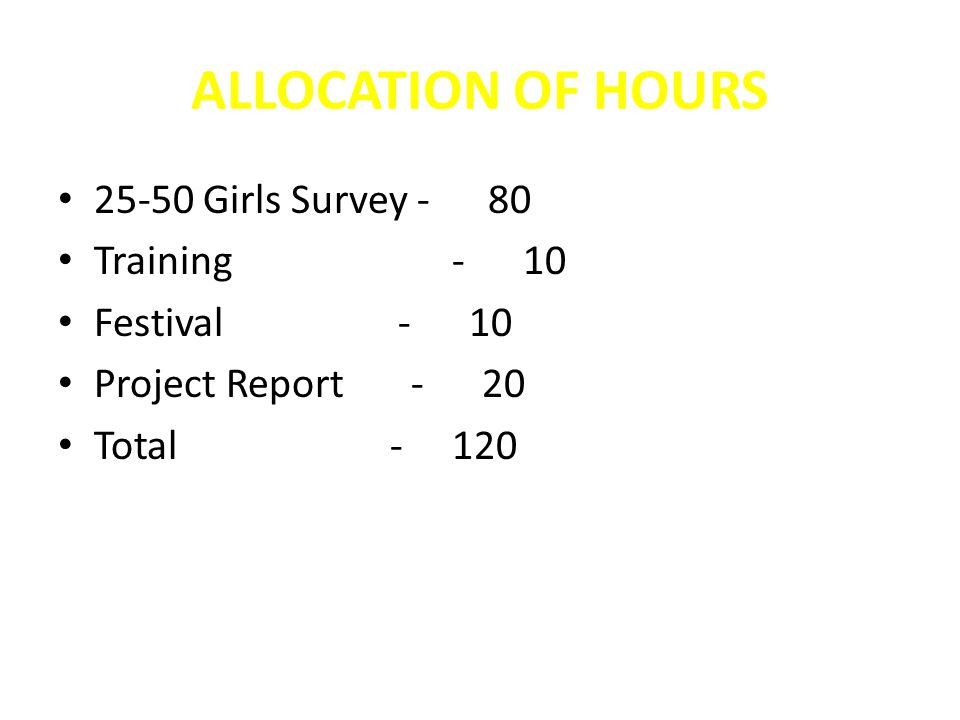 ALLOCATION OF HOURS 25-50 Girls Survey - 80 Training - 10 Festival - 10 Project Report - 20 Total - 120