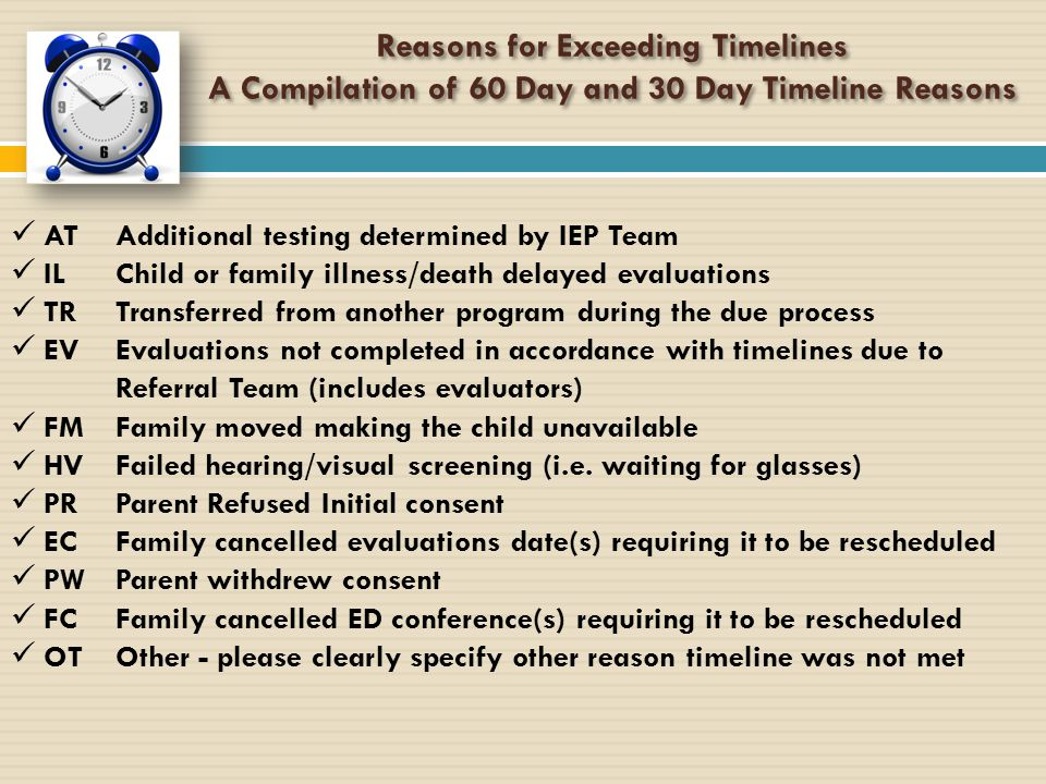Reasons for Exceeding Timelines A Compilation of 60 Day and 30 Day Timeline Reasons Reasons for Exceeding Timelines A Compilation of 60 Day and 30 Day
