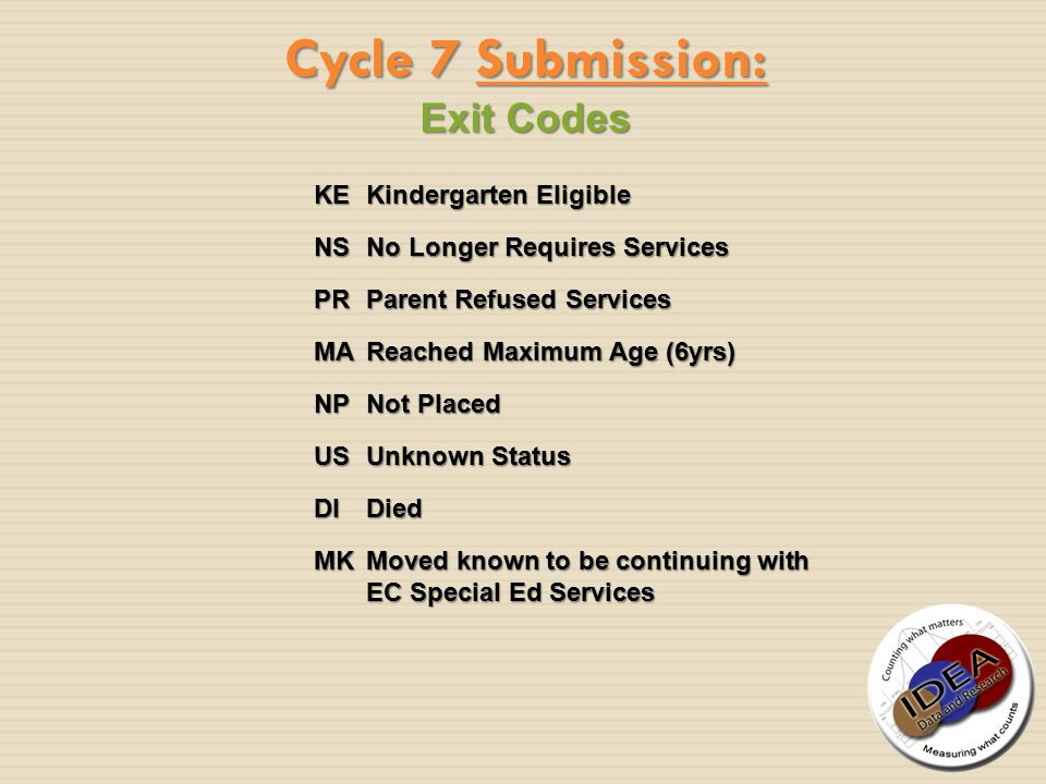 Exit Codes Cycle 7 Submission: KEKindergarten Eligible NSNo Longer Requires Services PRParent Refused Services MAReached Maximum Age (6yrs) NPNot Plac
