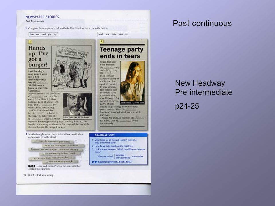 Past continuous New Headway Pre-intermediate p24-25