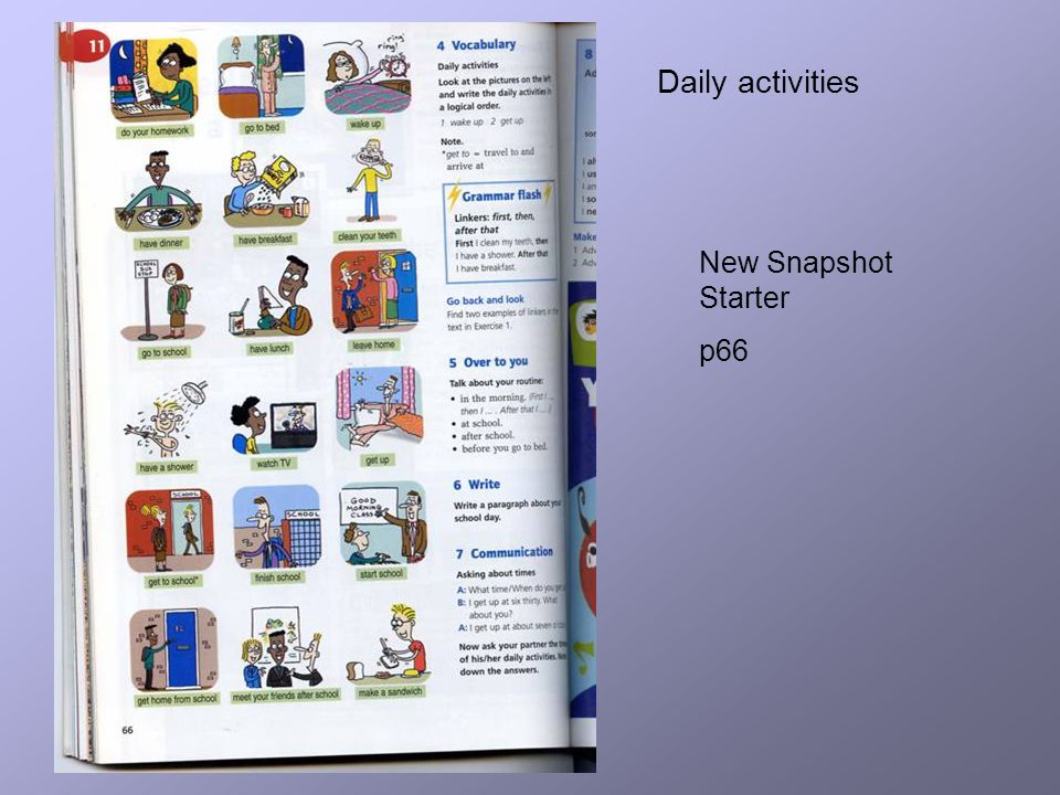Daily activities New Snapshot Starter p66