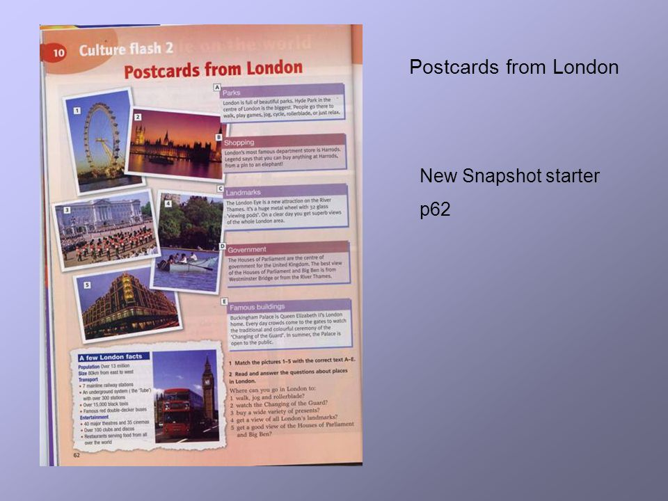 Postcards from London New Snapshot starter p62