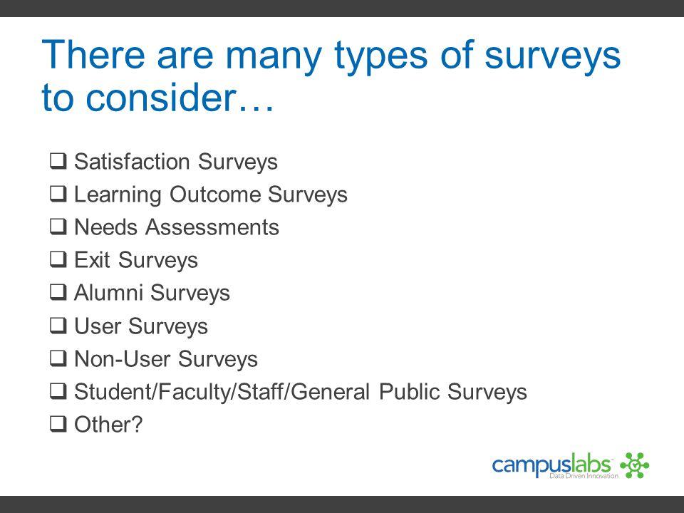 There are many types of surveys to consider…  Satisfaction Surveys  Learning Outcome Surveys  Needs Assessments  Exit Surveys  Alumni Surveys  U