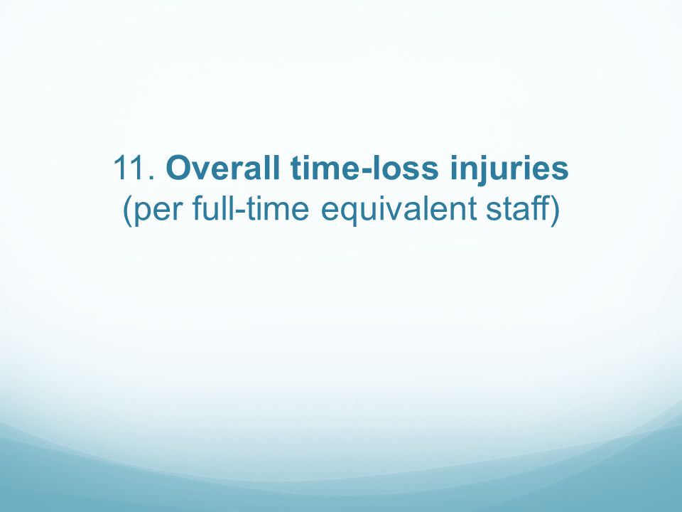 11. Overall time-loss injuries (per full-time equivalent staff)