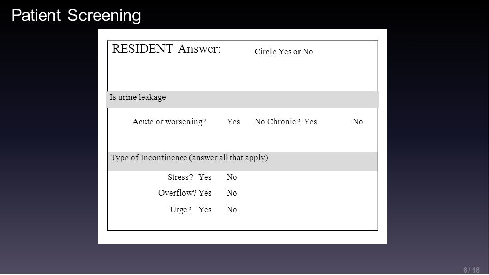Patient Screening 6 / 18 RESIDENT Answer: Circle Yes or No Is urine leakage Acute or worsening YesNo Chronic YesNo Type of Incontinence (answer all that apply) Stress YesNo Overflow YesNo Urge YesNo