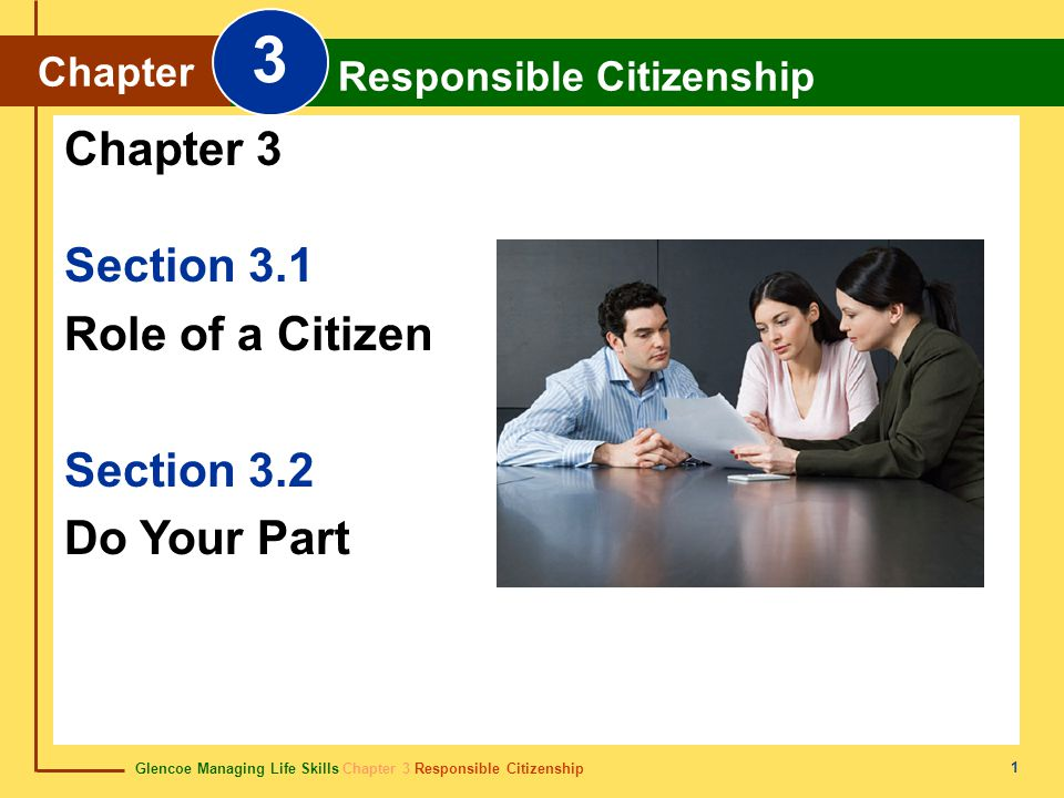 Glencoe Managing Life Skills Chapter 3 Responsible Citizenship Chapter 3 Responsible Citizenship 1 Section 3.1 Role of a Citizen Section 3.2 Do Your P