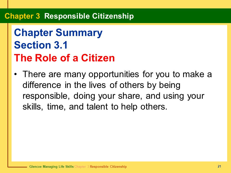 Glencoe Managing Life Skills Chapter 3 Responsible Citizenship Chapter 3 Responsible Citizenship 21 Chapter Summary Section 3.1 There are many opportu