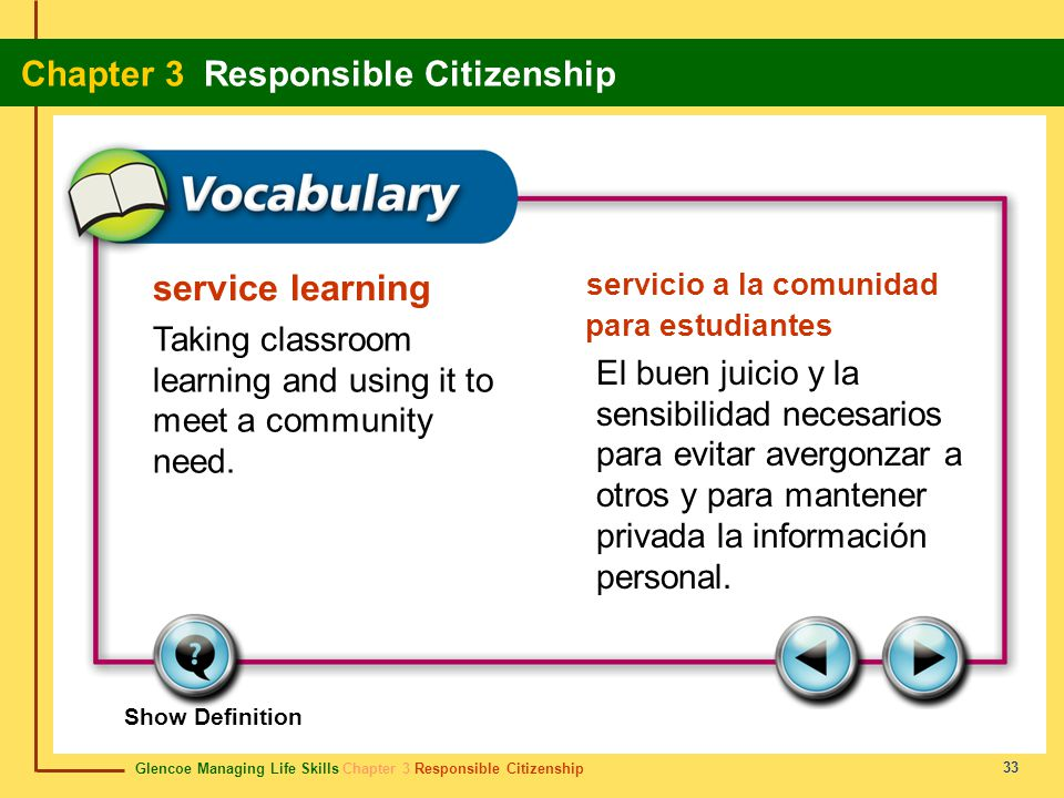 Glencoe Managing Life Skills Chapter 3 Responsible Citizenship Chapter 3 Responsible Citizenship 33 service learning servicio a la comunidad para estu