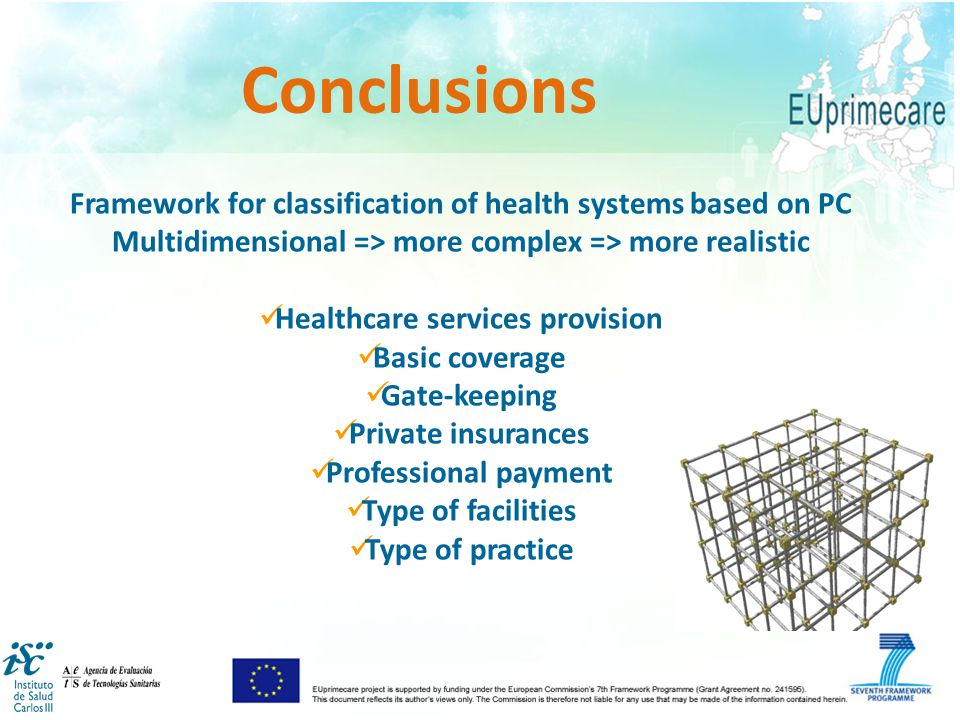 Framework for classification of health systems based on PC Multidimensional => more complex => more realistic Healthcare services provision Basic coverage Gate-keeping Private insurances Professional payment Type of facilities Type of practice Conclusions