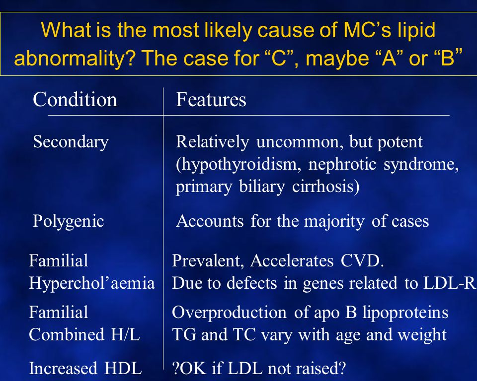 What is the most likely cause of MC's lipid abnormality.
