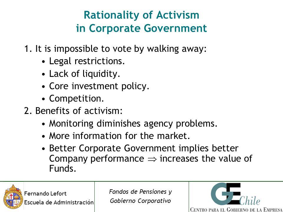 Fernando Lefort Escuela de Administración Fondos de Pensiones y Gobierno Corporativo Rationality of Activism in Corporate Government 1.It is impossible to vote by walking away: Legal restrictions.