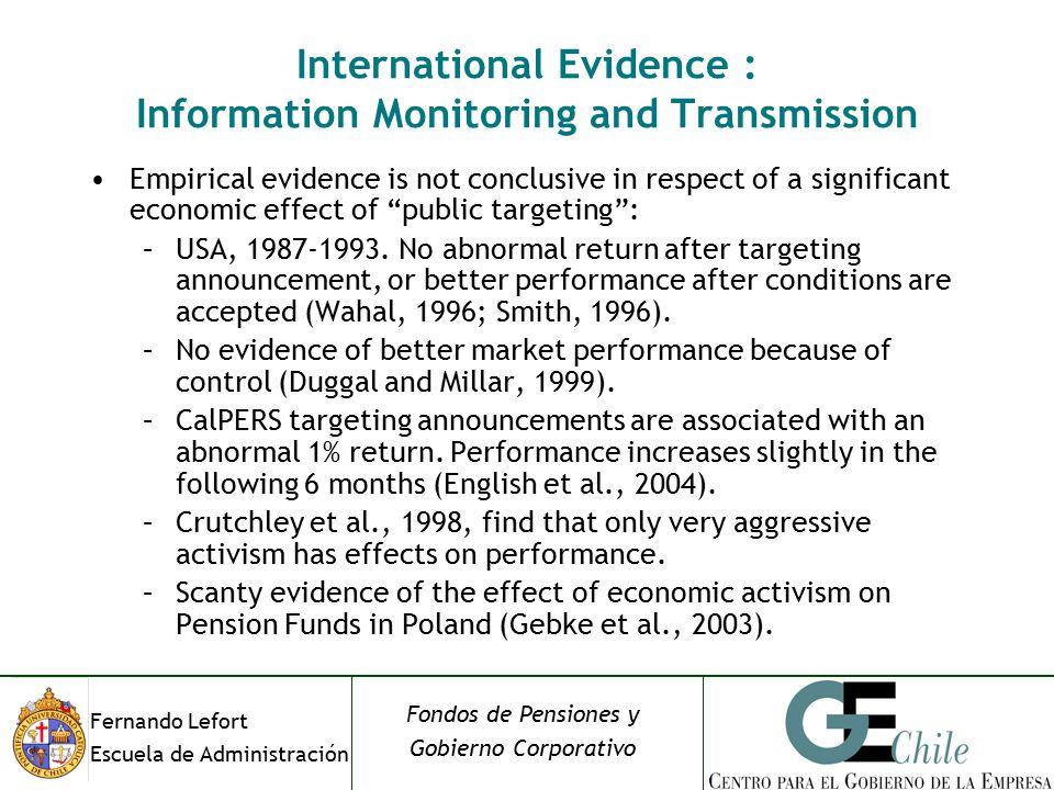 Fernando Lefort Escuela de Administración Fondos de Pensiones y Gobierno Corporativo Empirical evidence is not conclusive in respect of a significant economic effect of public targeting : –USA, 1987-1993.