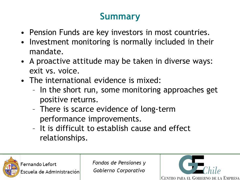 Fernando Lefort Escuela de Administración Fondos de Pensiones y Gobierno Corporativo Summary Pension Funds are key investors in most countries.