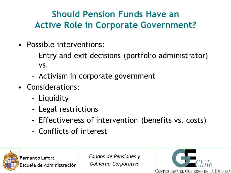 Fernando Lefort Escuela de Administración Fondos de Pensiones y Gobierno Corporativo Should Pension Funds Have an Active Role in Corporate Government.