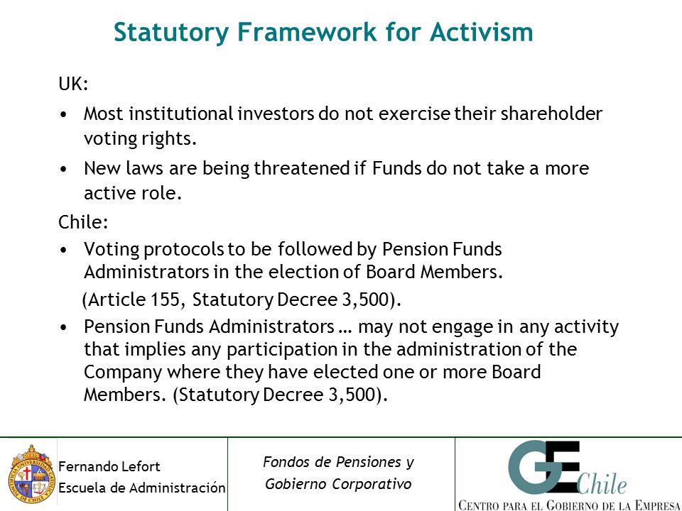 Fernando Lefort Escuela de Administración Fondos de Pensiones y Gobierno Corporativo Statutory Framework for Activism UK: Most institutional investors do not exercise their shareholder voting rights.