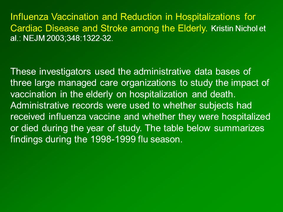 Influenza Vaccination and Reduction in Hospitalizations for Cardiac Disease and Stroke among the Elderly.
