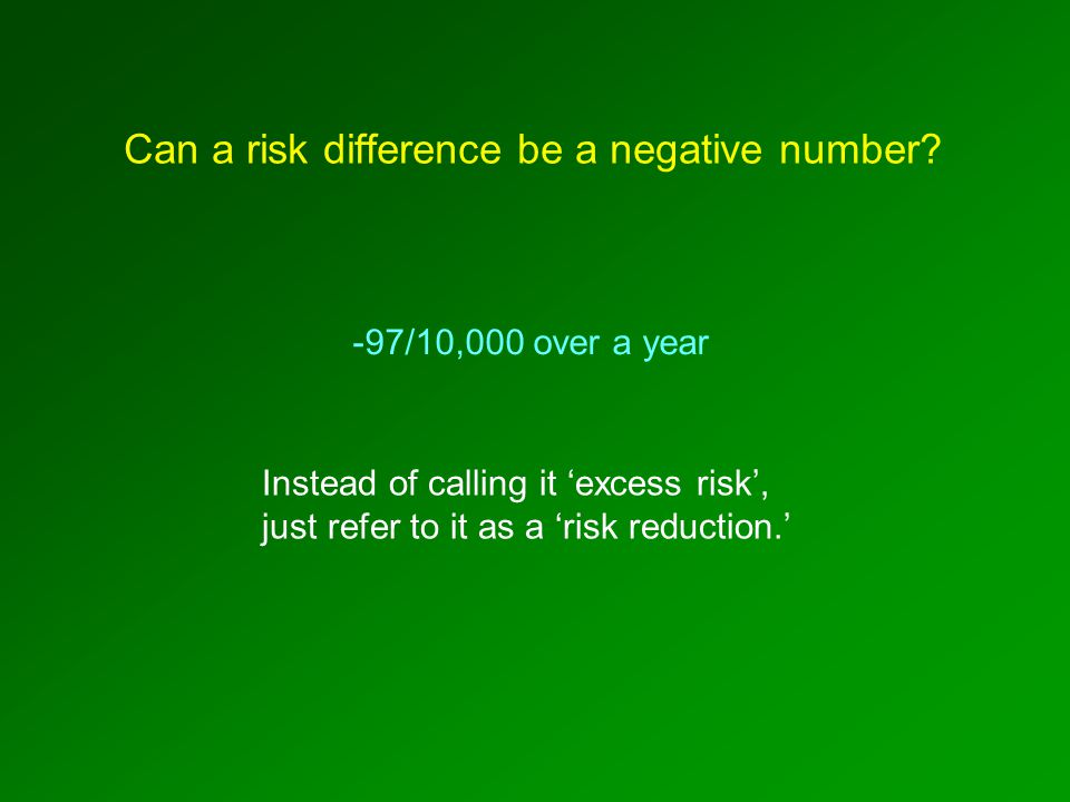 -97/10,000 over a year Instead of calling it 'excess risk', just refer to it as a 'risk reduction.' Can a risk difference be a negative number?