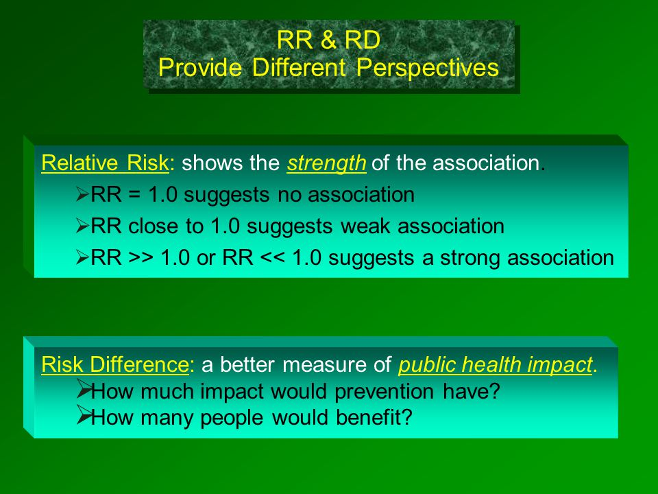 RR & RD Provide Different Perspectives Relative Risk: shows the strength of the association.