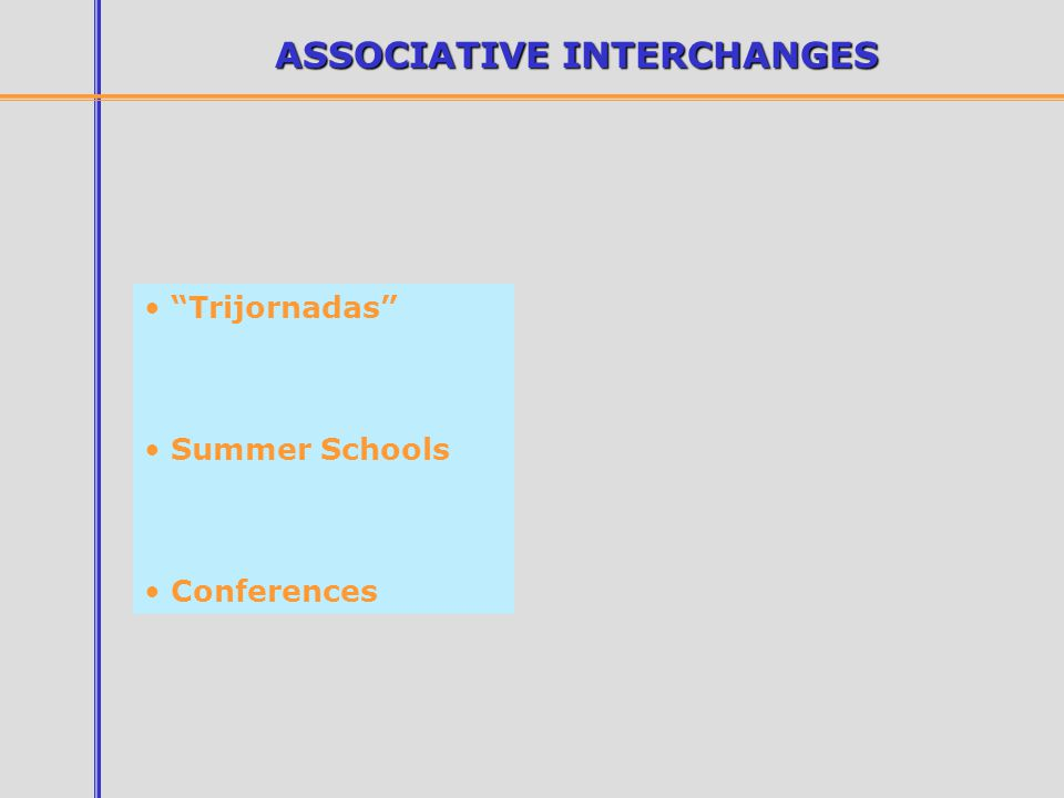 ASSOCIATIVE INTERCHANGES Trijornadas Summer Schools Conferences