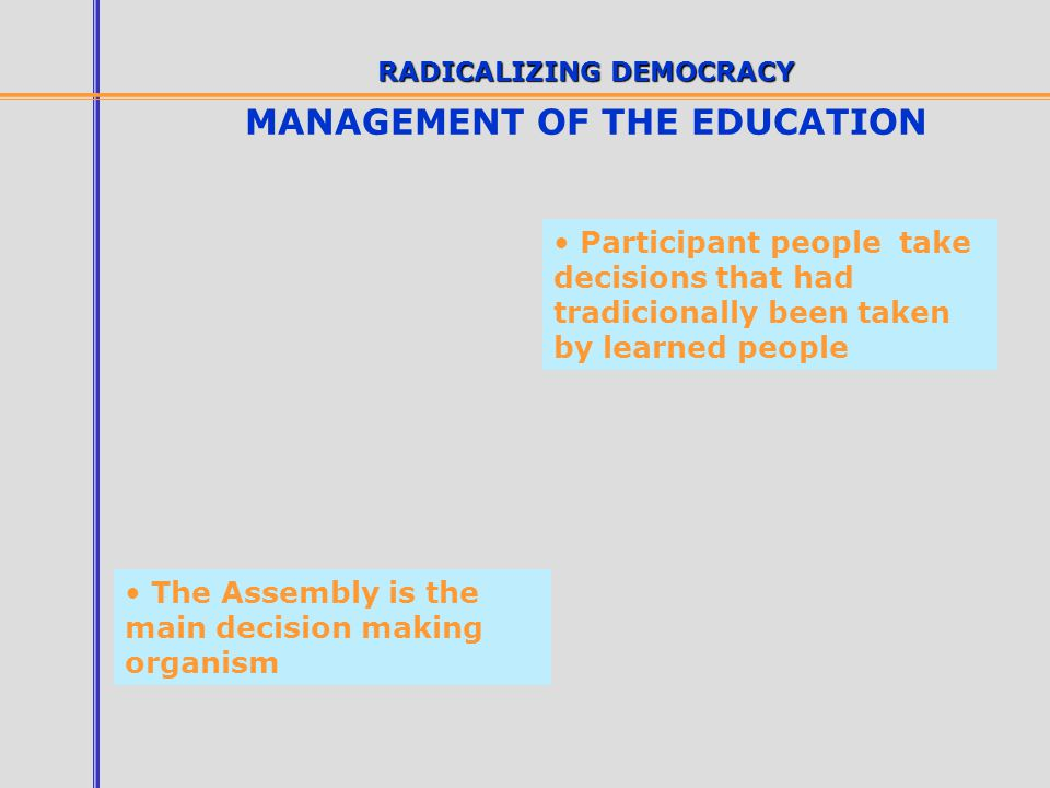RADICALIZING DEMOCRACY MANAGEMENT OF THE EDUCATION The participant people occupy leadership and responsaility places in the management organisms Apear as valid interlocutor with national and international Administrations