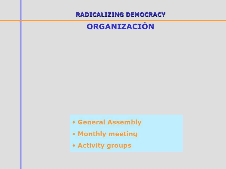 RADICALIZING DEMOCRACY ORGANIZACIÓN General Assembly Monthly meeting Activity groups