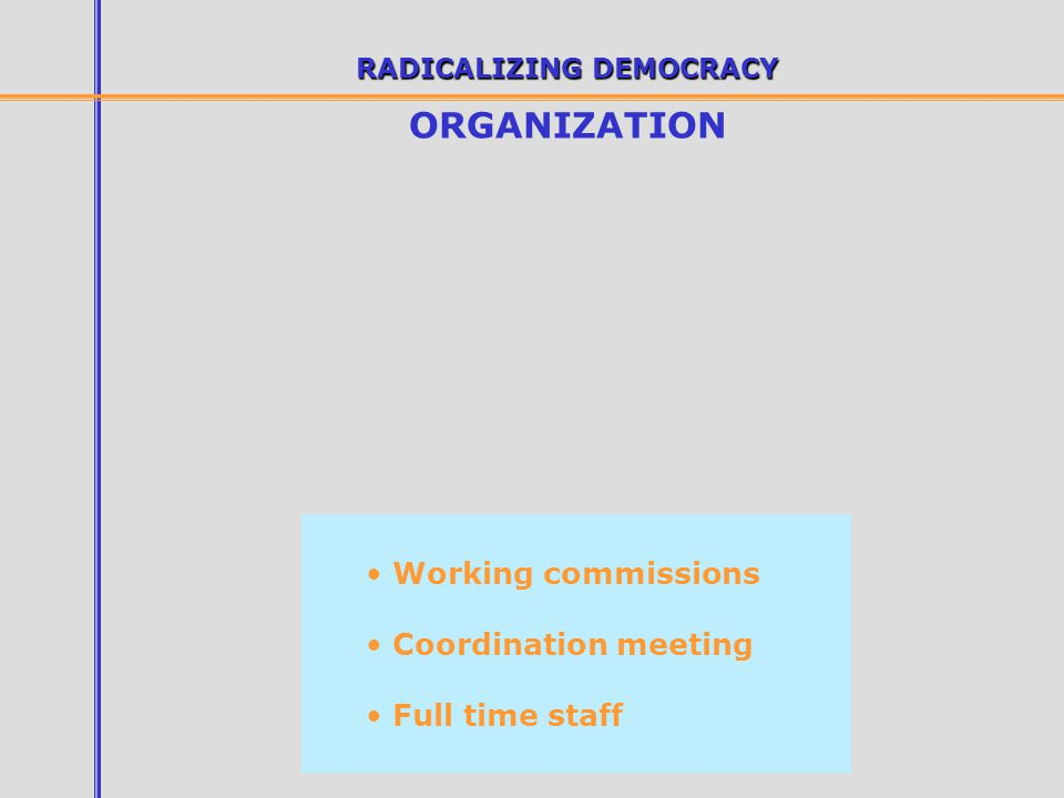 RADICALIZING DEMOCRACY ORGANIZATION Working commissions Coordination meeting Full time staff
