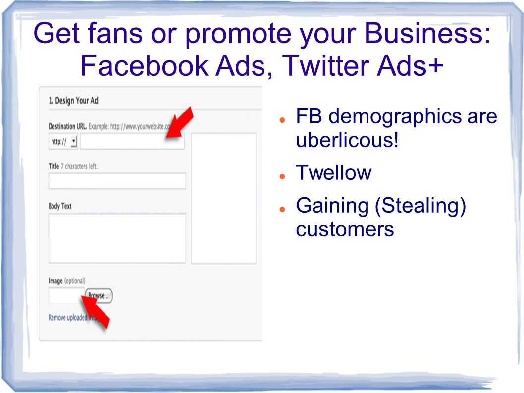 Get fans or promote your Business: Facebook Ads, Twitter Ads+ FB demographics are uberlicous.