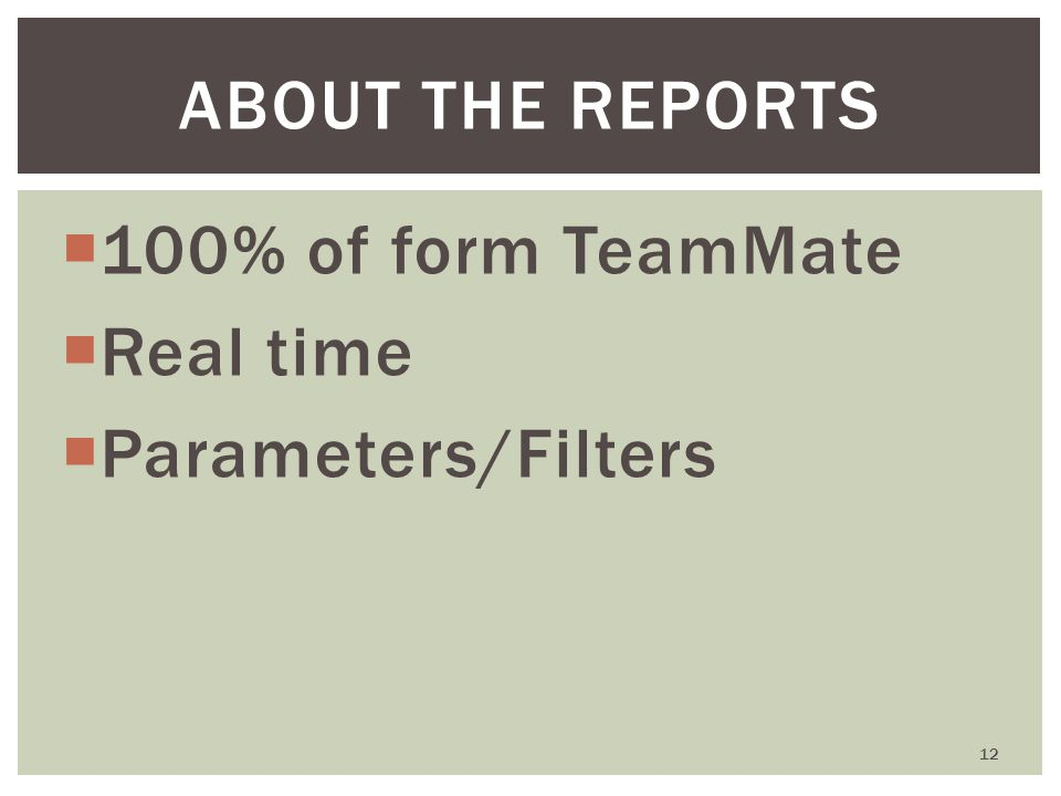  100% of form TeamMate  Real time  Parameters/Filters 12 ABOUT THE REPORTS