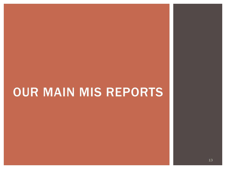 13 OUR MAIN MIS REPORTS