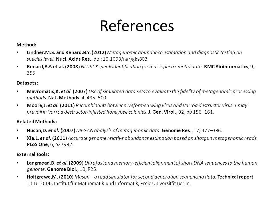 References Method: Lindner,M.S. and Renard,B.Y.