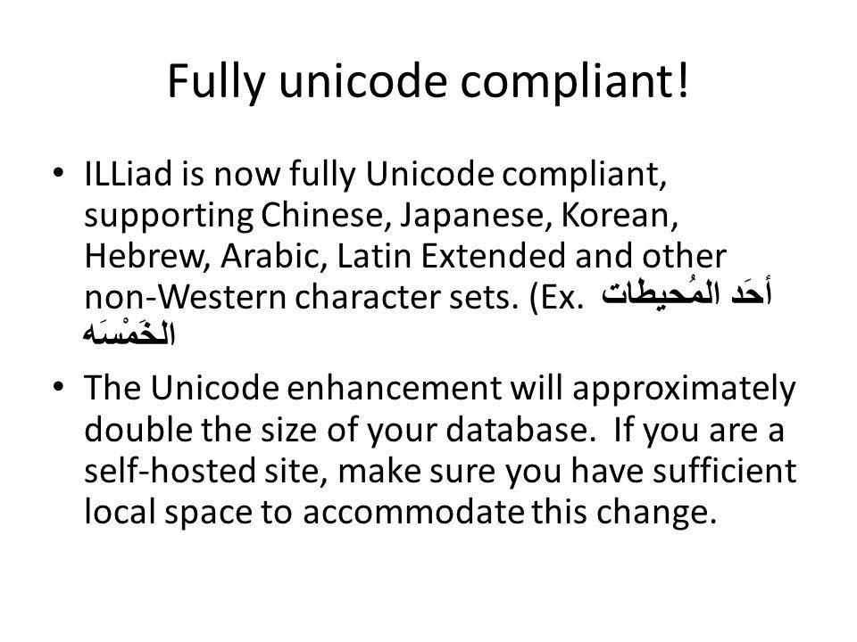 Fully unicode compliant.