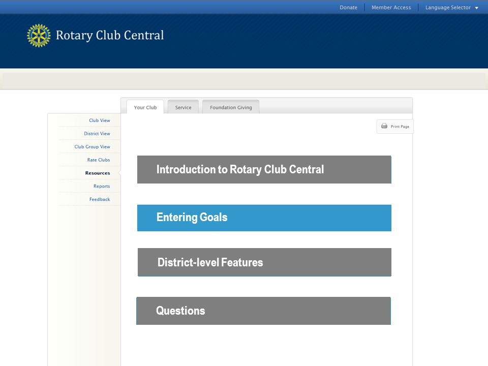 Introduction to Rotary Club Central Entering Goals District-level Features Questions