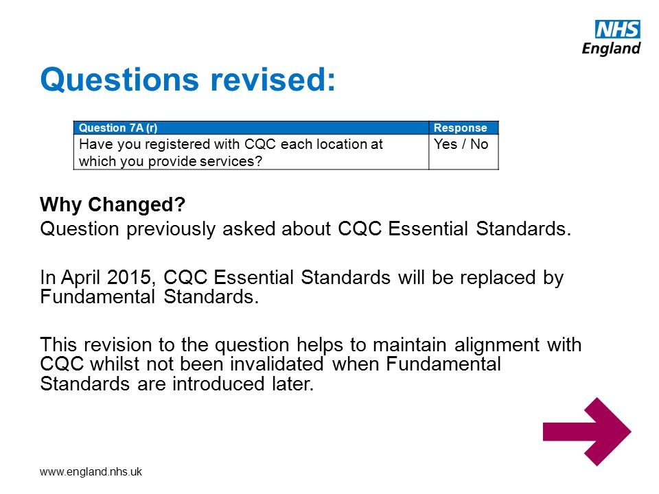 www.england.nhs.uk New Questions Ref.1: This means that there has been a change in the contractual entity of the practice Ref.